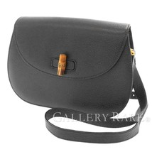 GUCCI Bamboo Shoulder Bag Leather Black 001・113・1529 Crossbody Authentic - $488.09