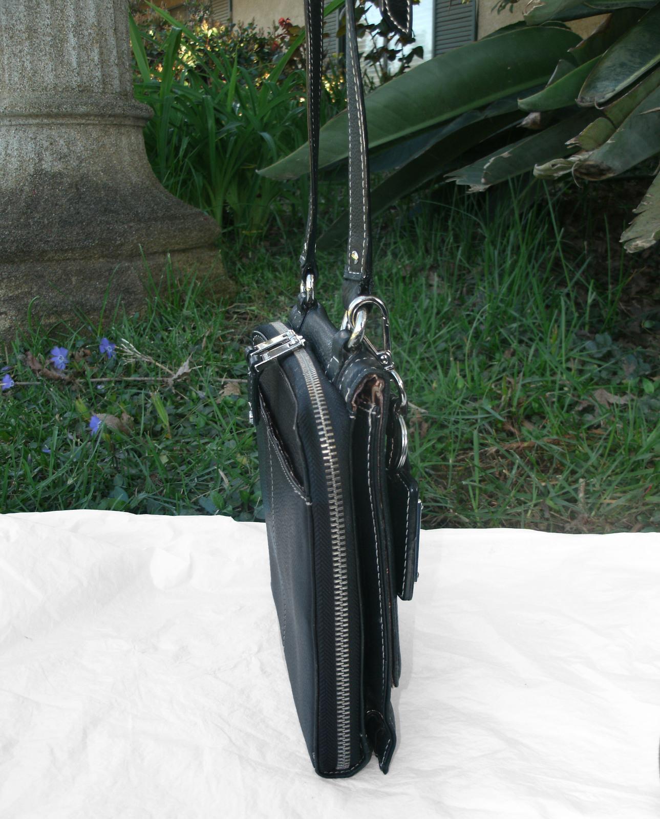 Tignanello Black Pebbled Leather Organizer Crossbody built in Wallet image 4