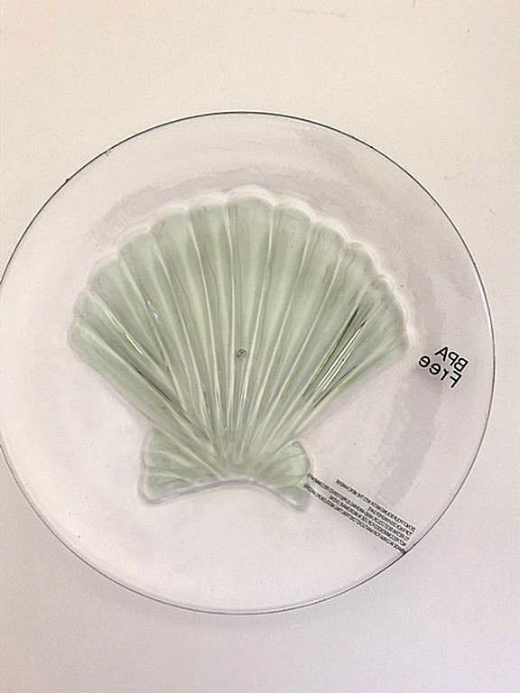 "Shell Clear Melamine Plates 8"" Appetizer Dessert Salad Lunch set of 4 NEW"