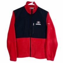 Georgia Bulldogs Columbia Fleece Jacket Women's Small Red Black Chest Pocket UGA - $29.60