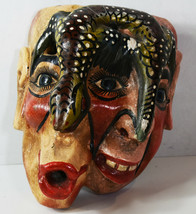 "9"" Hand Carved Wooden Painted South American Mask Horror Double Face Liz... - $75.99"