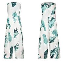 Women's Green and White Sleeveless Tropical Leaf High Waist Tube Top Jumpsuit image 3