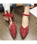 Elegant Red Women D'Orsay High Heels Shoes Spring Autumn Pointed Toe Wom... - $132.72+