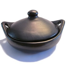 Ancient Cookware, La Chamba Round Serving Dish with Handles and Lid - $55.07