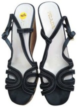 Prada 40.5 black suede wedge shoes sandals made in Italy  - $64.34