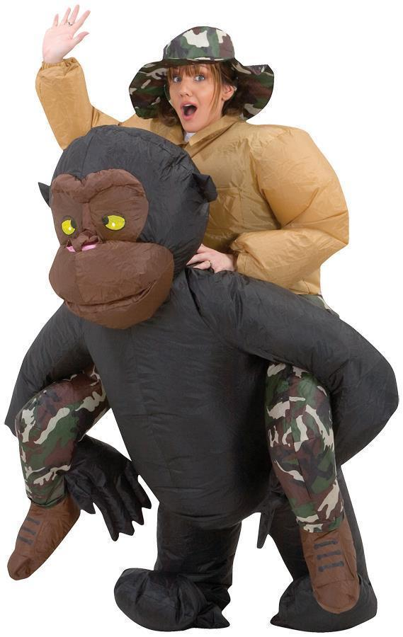 Adult Riding Gorilla Costume Inflatable Monkey Ape Halloween Funny SS29059G