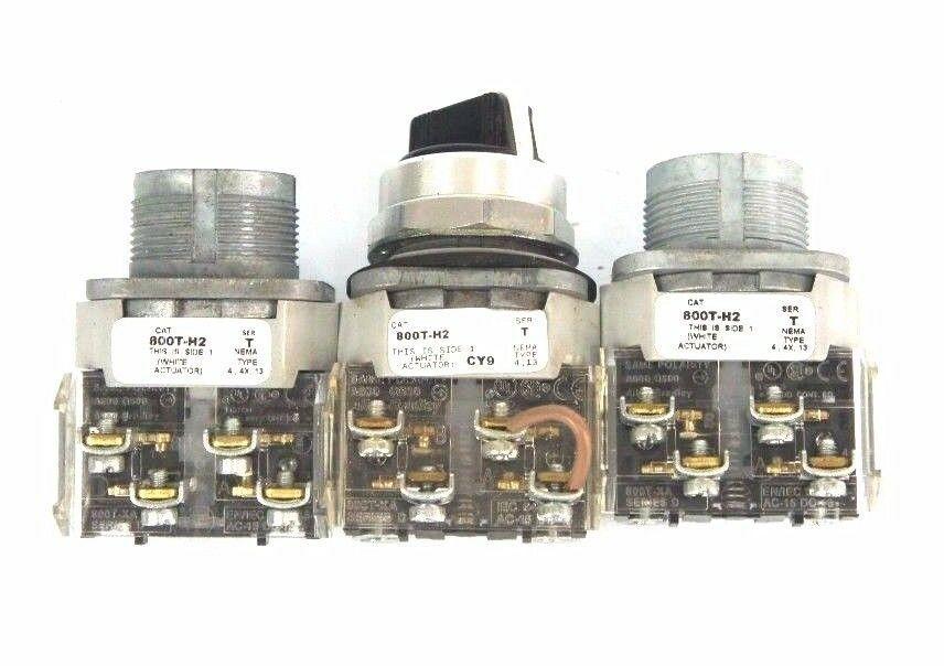 LOT OF 3 ALLEN BRADLEY 800T-H2 SELECTOR SWITCH SER. T W/ 800T-XA SER. D