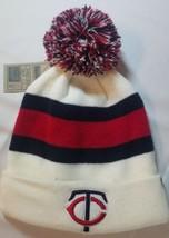 Minnesota Twins MLB Classic Pom Striped Beanie White Warm Winter Hat Cap - $19.79