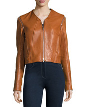 New Designer Tech. Removable Sleeve Cropped Women's Genuine Leather bike... - $154.00