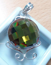 Sterling Silver Green AAA Round Cut Zircon Pendant Necklace. - $16.55