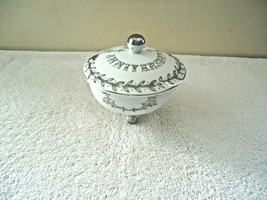 Vintage Lefton # NE2604 3 Footed 25th Anniversary Bowl / Dish  With Lid  - $29.99