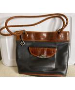 Vintage Brighton Black & Brown Leather Tote Purse Handbag Creed #:424775 - $40.00