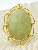 Green Taupe Agate Stone Gold Tone Necklace Pendant Vintage - $24.74