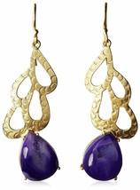 Blossom Box Gold Plated Druzy Purple Agate Dangle Drop Earrings image 1