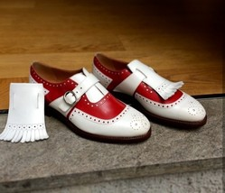 Handmade Men Red & White Leather Brogues and Fringe Monk Strap Shoes image 5