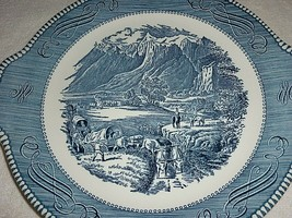 Currier & Ives Rocky Mountains Royal USA Blue White Cattle Horse Platter... - $12.82