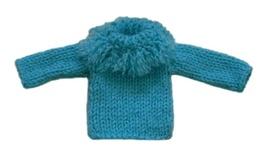 Barbie Doll Clothes Knit Aqua Blue Fringe Turtleneck Sweater Handmade - $6.49