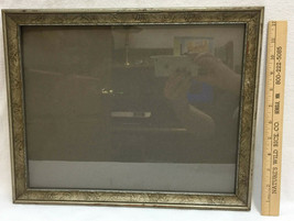 """Picture Frame Wood Wooden Gray Glass Front Antique Holds 14"""" x 11"""" Photo... - £11.42 GBP"""