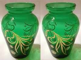 Pair of Vintage 1960's Anchor Hocking Small Green & Gold Bud Vase     3 7/8""