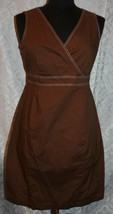 Motherhood Maternity Brown Sleeveless Dress Sz M Pregnancy Summer V-neck - $21.02