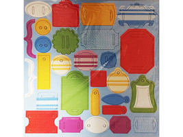 Chipboard Accent Pieces, Set of 6 12x12 Sheets, Bright Colors image 2