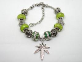 Green Leaf European Murano Beaded Bracelet. Gift bag included - $19.95