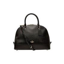 COACH (F57524) SIERRA BLACK CROSSGRAIN LEATHER SATCHEL DOME BAG HANDBAG - $188.09