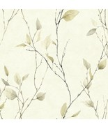 Golden Beige Leaves On Black Branches On Off White Wallpaper AW11043 - $27.74
