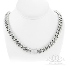 """Men's Cuban Miami Link Chain 14k White Gold Over Stainless Steel 30"""" 12mm - £39.05 GBP"""