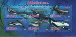 Djibouti Whales Marine Fauna Ocean Souvenir Sheet of 6 Stamps Mint NH - $14.38
