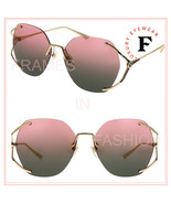 GUCCI 0651 Gold Pink Oval Fork Rimless Metal Sunglasses GG0651S Authenti... - $297.00