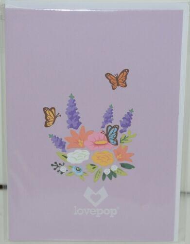 Lovepop LP2075 Flower Basket Pop Up Card Purple White Envelope Cellophane Wrap