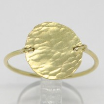 18K YELLOW GOLD FLAT DISC RING, FINELY WORKED, SATIN, HAMMERED, MADE IN ITALY image 2