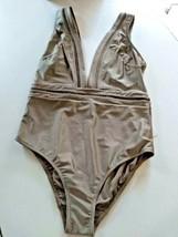Ted Baker London Pointelle Deep V Khaki One Piece SwimSuit Size 3/ 8-10 US image 1