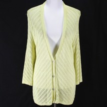 Chicos Cardigan Sweater Sz 3 XL Lime Green Open Weave 3/4 Sleeve Rayon Blend - $17.99