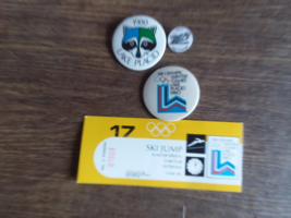 1980 winter Olympics Ticket stub and pins  - $11.00