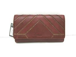 Fossil  NWT $95 Cabernet Wallet Clutch Emma Leather Bi Fold ID Slots Gli... - $49.49