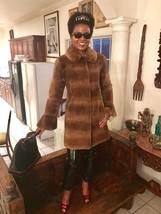 Mint Designer Zandra Rhodes Sable brown color Sheared mink fur coat Jacket S 0-4 - $2,199.99