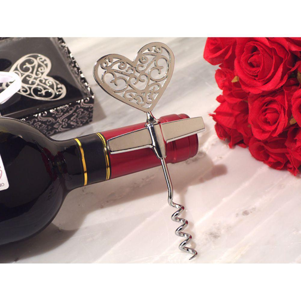 Ornate Heart Silver Wine Opener - 48 Pieces
