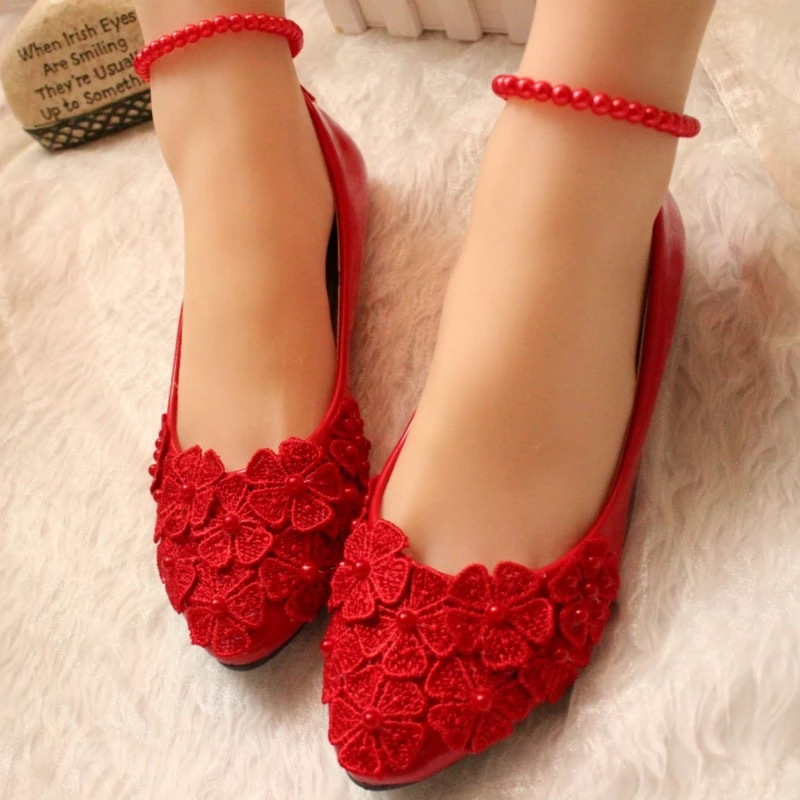 Primary image for Red Women Ribbon Style Bridal Ballet Flats/Wedding Flat Shoes with Lace Ankle St