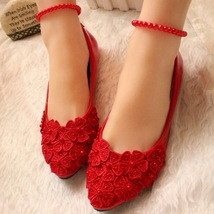 Red Women Ribbon Style Bridal Ballet Flats/Wedding Flat Shoes with Lace ... - $38.00