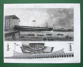 FRIGATE LAUNCH Dockyard - Original Print Engraving - $12.60