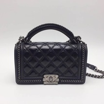 AUTHENTIC CHANEL BLACK QUILTED CALFSKIN 2 WAY TOP HANDLE BOY FLAP BAG RECEIPT