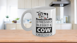 Cow Lovers Coffee Mug Gift Stressed Blessed Obsessed - $14.79+