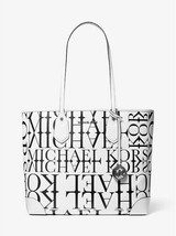 MICHAEL MICHAEL KORS Eva Large Newsprint Logo Leather Tote Bag White/Black - $199.00