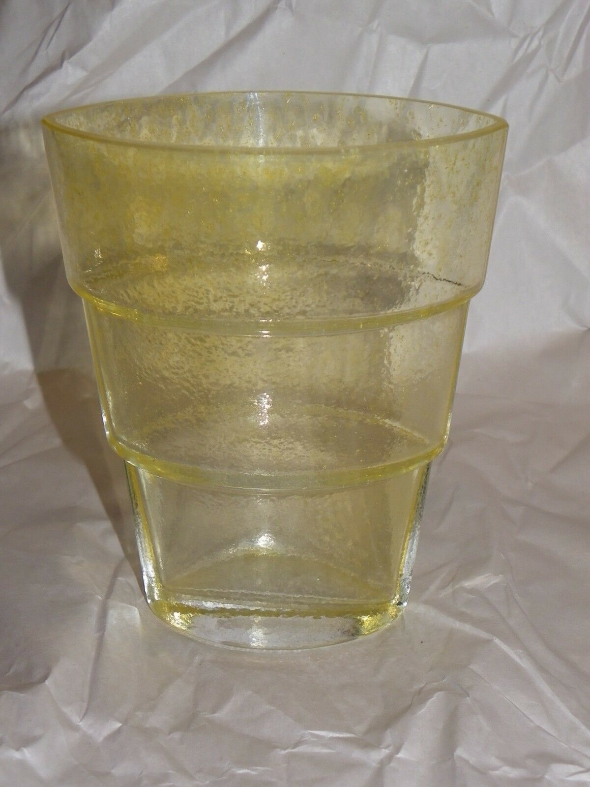 Primary image for Kosta Boda Ann Wahlstrom Signed Mezzo Yellow Ovid Tiered Art Glass Vase 5 3/4""