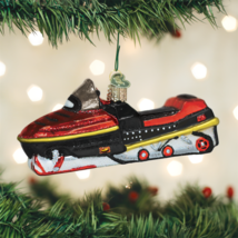 Old World Christmas Snowmobile Winter Snowmobiling Glass Xmas Ornament 46074 - $17.88