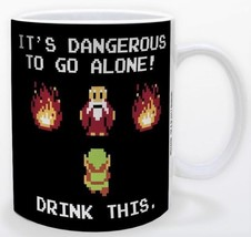 Legend of Zelda Dangerous to Go Alone Drink This 11oz Game Mug Licensed ... - $15.83