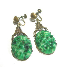 VINTAGE LARGE SIGNED PIERCED CARVED FAKE JADE GREEN GLASS BARCLAY EARRINGS - $225.00
