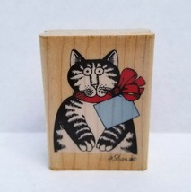 "B Kliban Cat ""For You!"" Wood Mounted Rubber Stamp Gift Tag 1990 Rubber S... - $44.95"